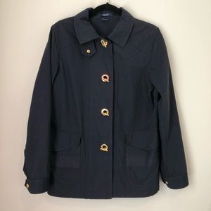 Chaps Gold Toggle Buckle Navy Utility Coat Small